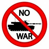 No War Sign With Modern Tank