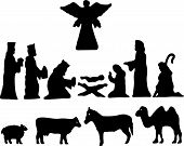 picture of nativity scene  - Vector cartoon Illustration - JPG