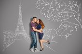 Romantic Kiss In Paris.