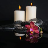 Beautiful Spa Concept  Of Deep Purple Orchid (phalaenopsis) And Bud, Zen Stone With Drops And Candle