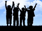 stock photo of bye  - illustration showing children in silhouettes against sky - JPG