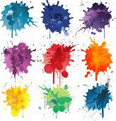 Colorful Abstract vector ink paint splats poster