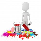 3d man and paint bucket on white background