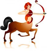 image of sagittarius  - An Illustration of a Sagittarius Girl with clipping path - JPG