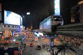 Bukit Bintang and monorail night Kuala Lumpur Malaysia