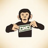 Monkey with dollar