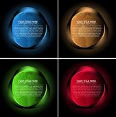 Set of four abstract vector background with colored neon lights, globe and a place for text.