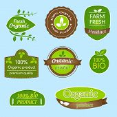 Bundle of labels for bio, organic, all natural food and eco-friendly products