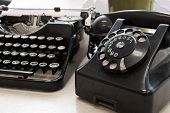 Vintage Typewriter And Phone