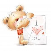 Cute Teddy bear with the big paper with the text.Love design.I love you