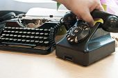 Vintage Phone And Typewriter