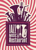 image of trumpets  - menu for the restaurant with jazz music and winds - JPG