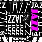 art seamless vector pattern background with word jazz in black, white and pink colors