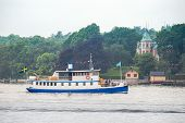 Old Steamship With Passengers Trafficking The Stockholm Archipelago
