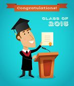 image of tribunal  - Graduating young man with graduation diploma near tribune with microphone vector illustration - JPG