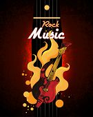 stock photo of drum-set  - Rock music guitar in fire grunge colored retro sketch poster with drum set vector illustration - JPG