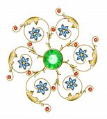 stock photo of brooch  - Golden brooch in the shape of a flower with emerald sapphires and rubies - JPG