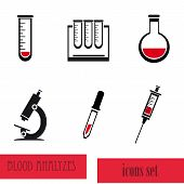 Blood analysis medical icon set