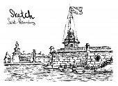 Hand Drawn Vector Illustratoin Of St. Petersburg. Sketch