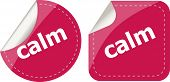 Calm Word Stickers Set, Web Icon Button