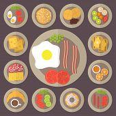 Breakfast vector icons set.
