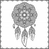 Black and white doodle dream catcher