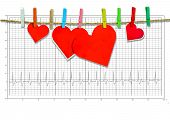 Group of Cute big red heart hanging on the clothesline. on electrocardiogram
