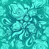 Floral Seamless Pattern, Turquoise Abstract Background