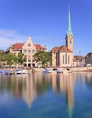 Zurich, The Lady Minster Cathedral And The City Hall