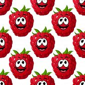 Happy ripe red raspberry seamless pattern