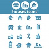 houses, city, building, landmark, factory icons, signs, symbols set, vector