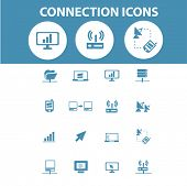 connection, network, link icons, signs, symbols set, vector