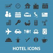hotel, motel, vacation, room service icons, signs, symbols set, vector
