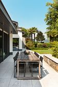 Beautiful patio of a villa, modern furniture