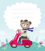 Greeting card template with a cute little bear