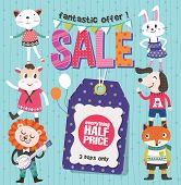 Sale Poster with cute animals