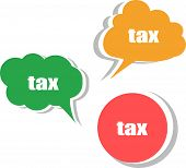 Tax. Set Of Stickers, Labels, Tags. Template For Infographics