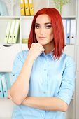Young beautiful business woman in cabinet