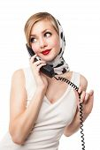 Blond woman talking on the phone. Retro. Isolated