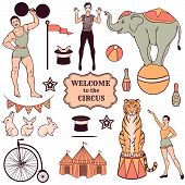 foto of mime  - Set of various circus elements people animals and decorations - JPG