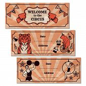 Set Of Vintage Circus Advertisement Banners