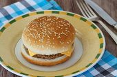 Cheeseburger on plate and checkered cloth