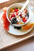 Useful homemade fruit salad, close-up