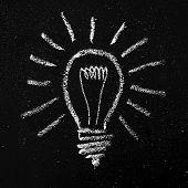 Light Bulb On Blackboard