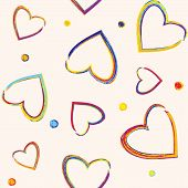 Seamless pattern with pencil hearts