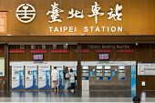 TAIPEI - JULY 4th : Lobby of Taipei Station with tourists and tickets vending machine in 4th, 2014 i