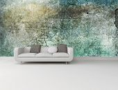 White couch against an abstract green wall on a plain white floor in an interior decor and architect