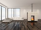 Spacious airy minimalist living room interior with large view windows, a wooden parquet floor, fire