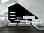 Modern design loft living room interior with skylights in the sloping ceiling and white and black decor with a modern suite and cabinets