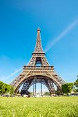 Eiffel Tower with blue sky, Paris France